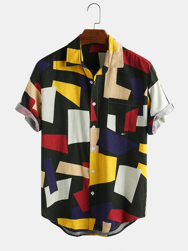 Мужские повседневные рубашки с коротким рукавом из хлопка с цветными блоками и практичным карманом