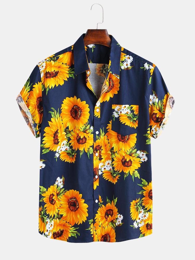 Мужские свободные повседневные рубашки с принтом подсолнуха