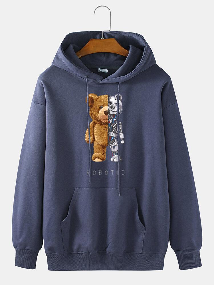 Мужской пуловер на шнурке для повседневного ношения с принтом медведя Механический Толстовка с капюшоном