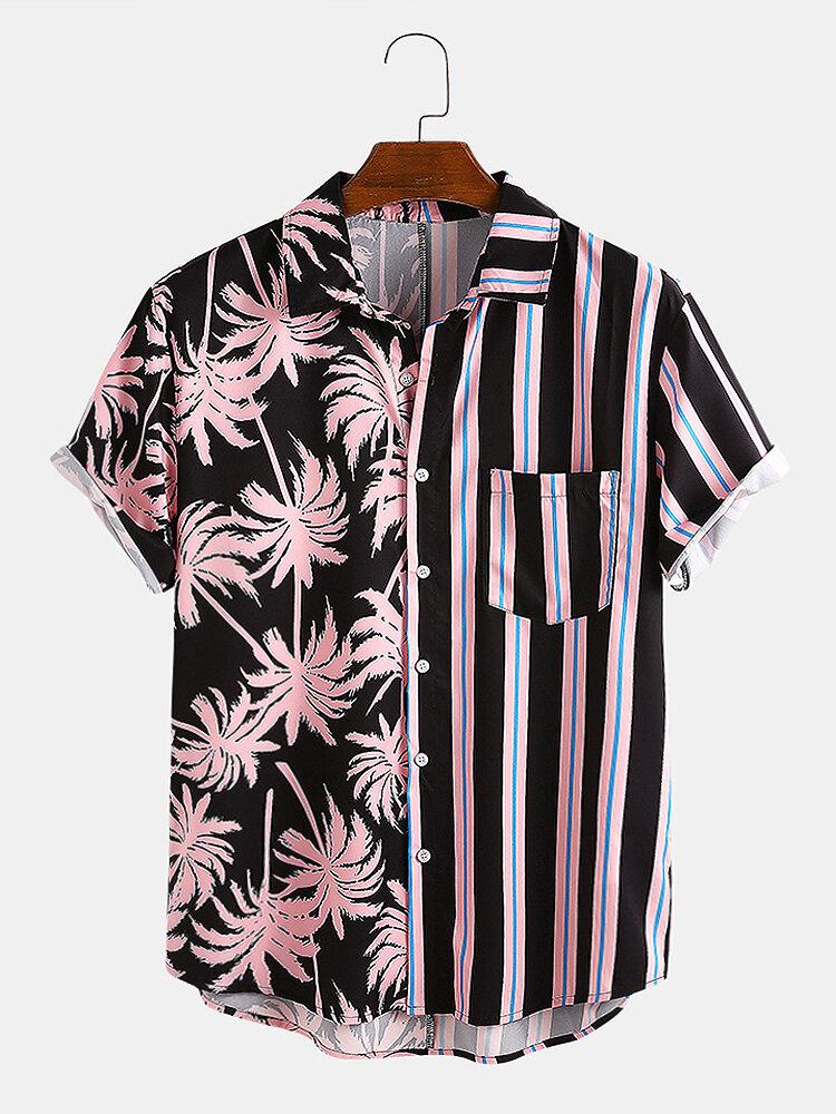 Мужские Кокос Tree Colorful Повседневные праздничные рубашки с короткими рукавами в полоску с короткими рукавами