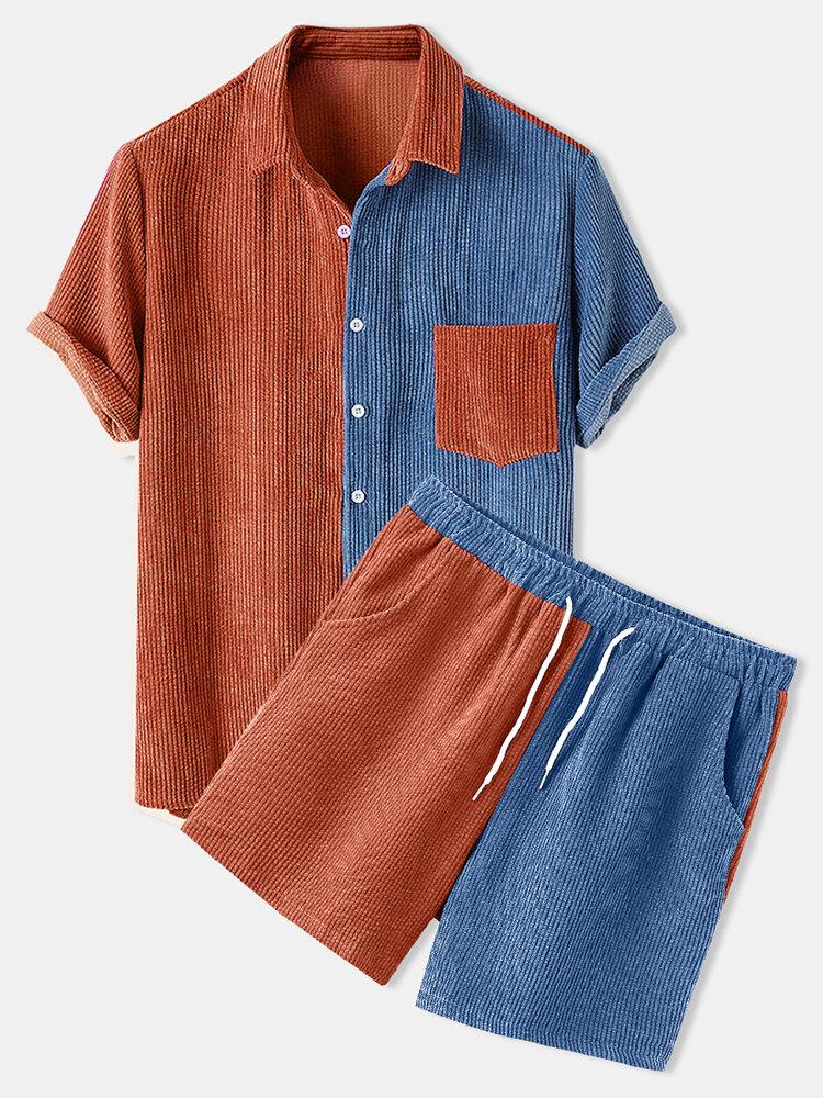 Мужские легкие вельветовые лоскутные патч-карманы с эластичной талией, дышащие Рубашка и шорты