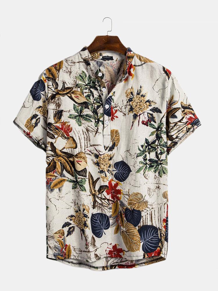Мужские хлопковые тропические листья Prinnt с коротким рукавом восточные рубашки Henley