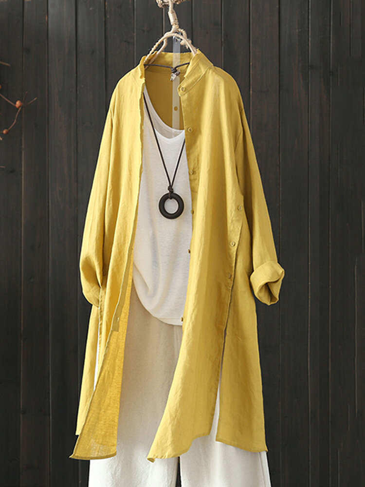 Женская Винтаж Стенд с воротником с длинным рукавом Осенняя блузка Кардиагни