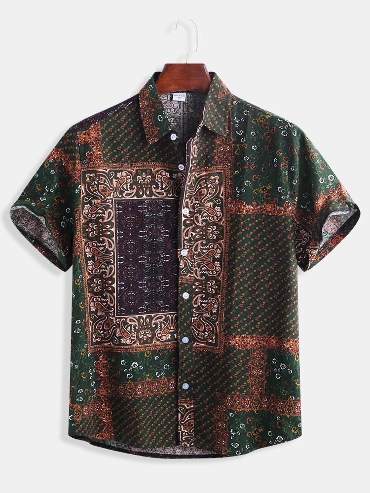 Мужская этническая стиль Шаблон Печать повседневной моды рубашки