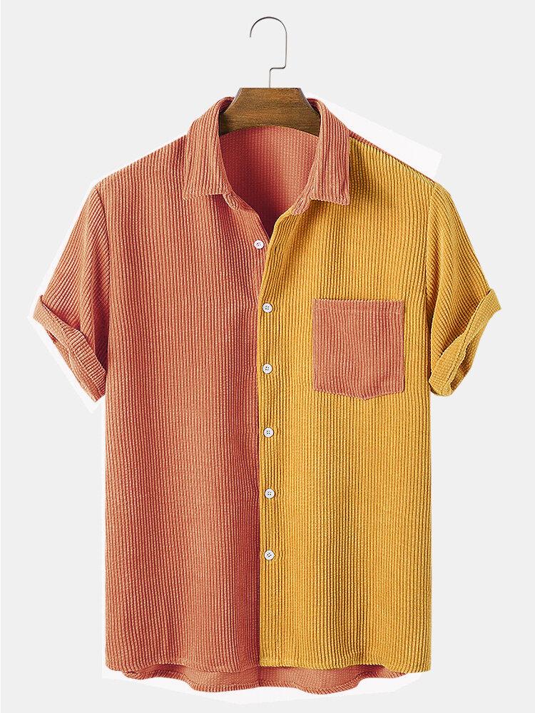 Мужские легкие вельветовые дышащие повседневные рубашки в стиле пэчворк с карманами