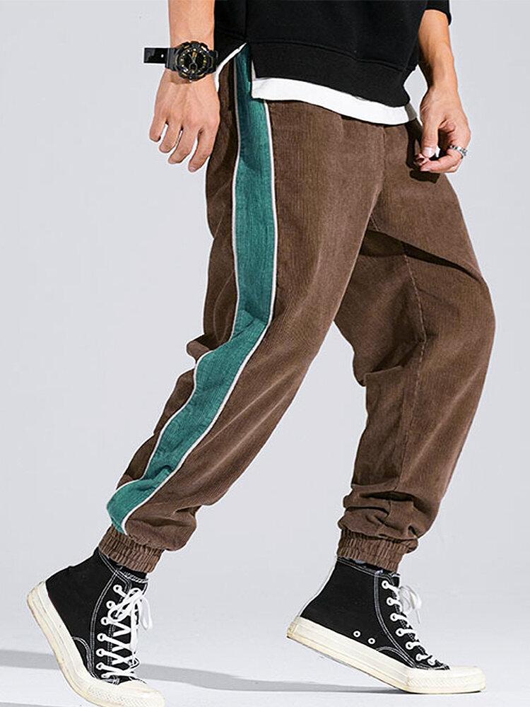 Вельветовые мужские карманы с боковыми полосками на шнурках, повседневные Брюки
