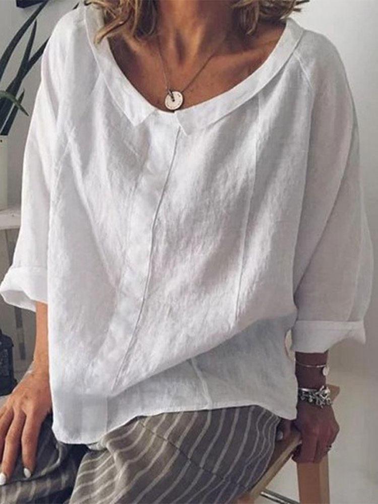 Женская повседневная хлопковая блузка с длинным рукавом из чистого цвета