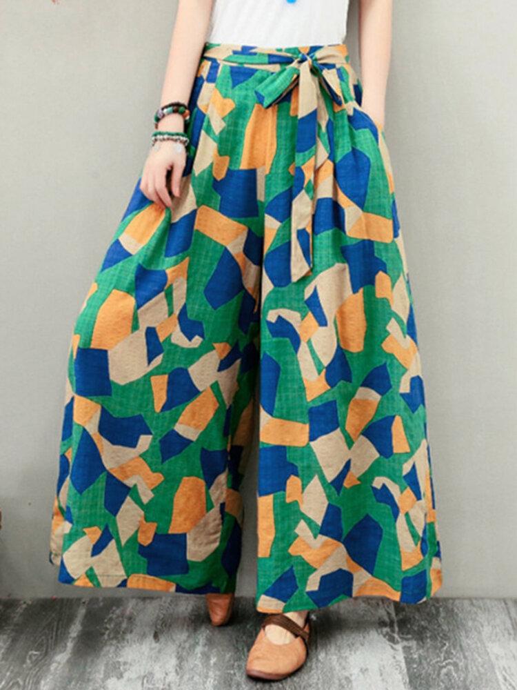 Широкие ноги Женское Эластичные боковые карманы с геометрическим принтом на талии Брюки