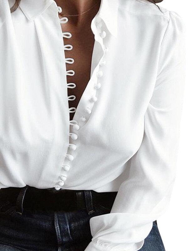Повседневная блузка с длинным рукавом и низким вырезом Кнопки Пуховые рубашки