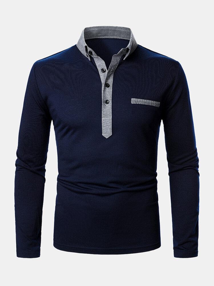Мужские двухцветные повседневные рубашки для гольфа с длинным рукавом с лацканами и карманом