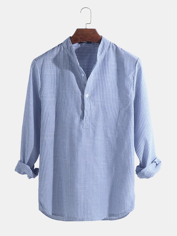 Мужские повседневные рубашки Платье Рубашки Полосатая футболка с воротником на пуговицах с v-образным вырезом и пуговица