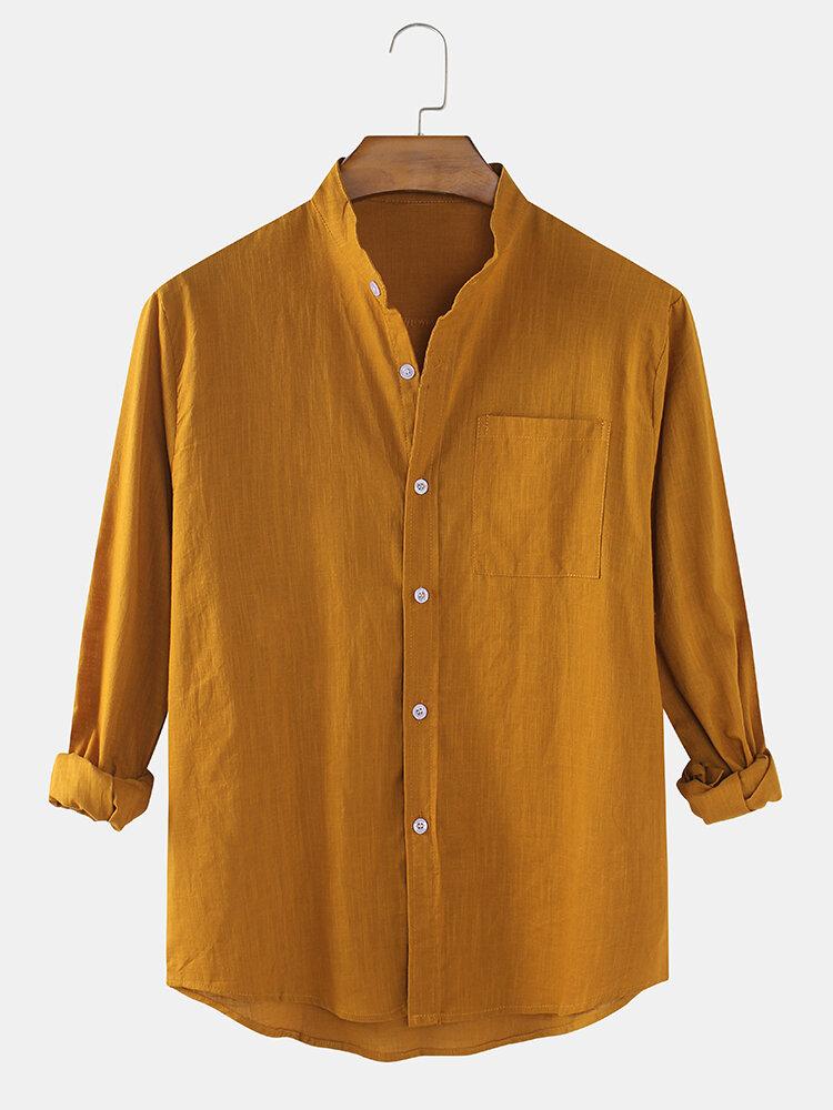 Мужские повседневные тонкие однотонные тонкие повседневные рубашки с длинным рукавом и карманом из хлопка и ткани