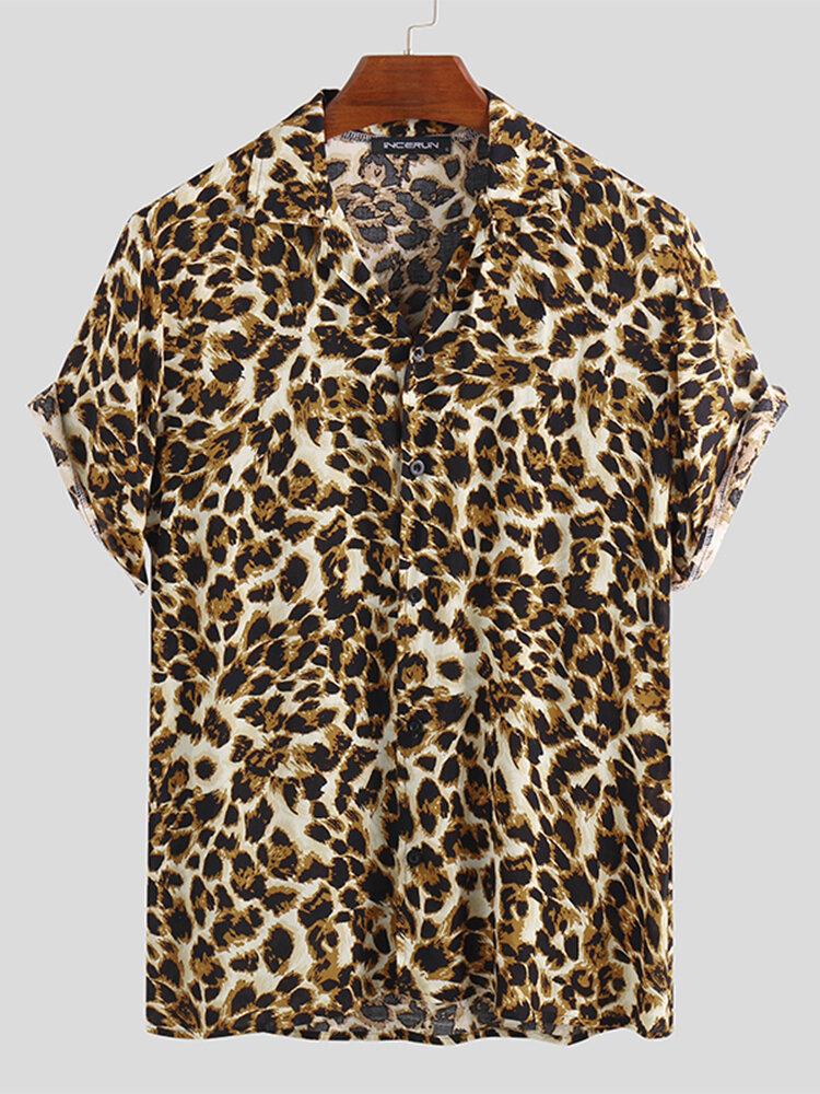 Мужские летние свободные модные красивые рубашки с леопардовым принтом
