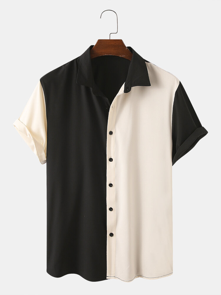 Мужские дизайнерские рубашки сплошного цвета с короткими рукавами