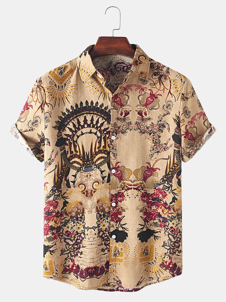 Мужской цветочный принт в национальном стиле Винтаж отворот с коротким рукавом Рубашка