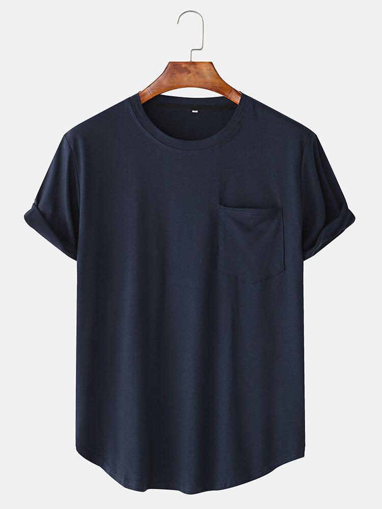 Мужчины случайные свободные сплошной цвет лоскутное карманный экипаж Шея футболки с коротким рукавом