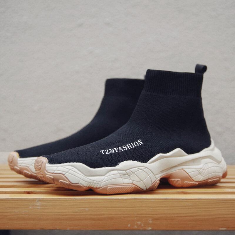 Мужская трикотажная ткань Удобные противоскользящие повседневные кроссовки с коротким носком