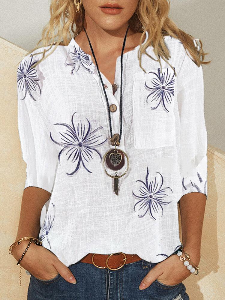 Женщины Винтаж Цветочный принт с воротником-стойкой и пуговицами Повседневная блузка с длинным рукавом