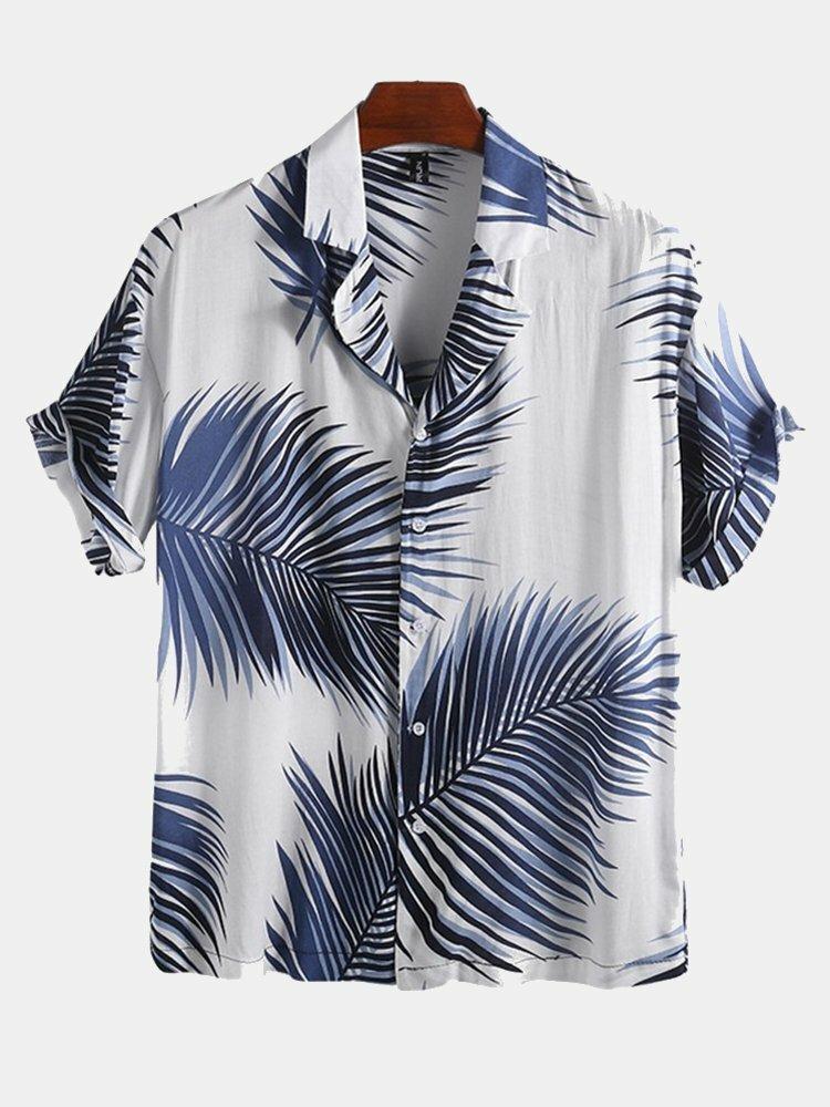 Мужские летние повседневные гавайские рубашки с принтом Palm Лист для отпуска