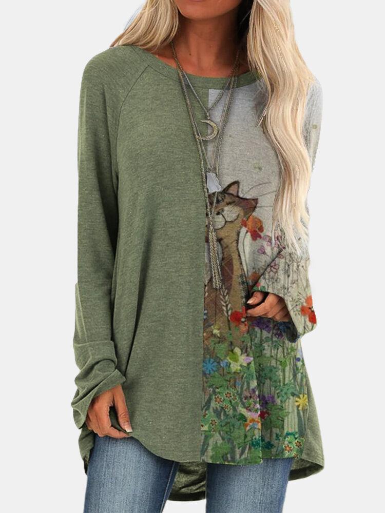 Повседневная длинная блузка с круглым вырезом в стиле пэчворк с рисунком Кот для Женское