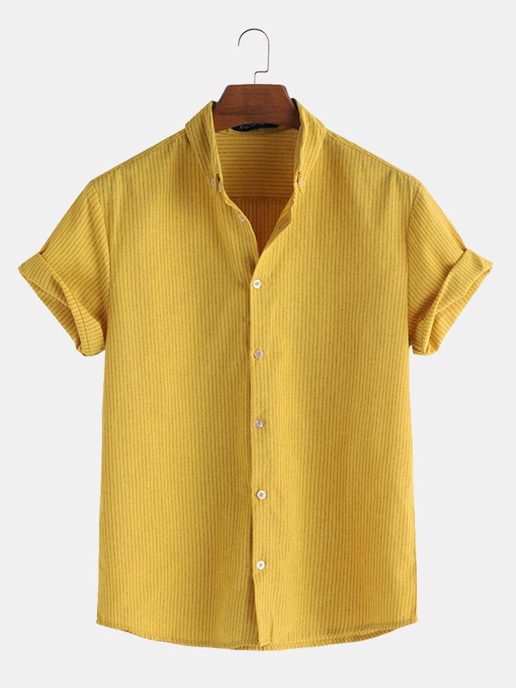 Мужские летние повседневные свободные полосатые рубашки с коротким рукавом