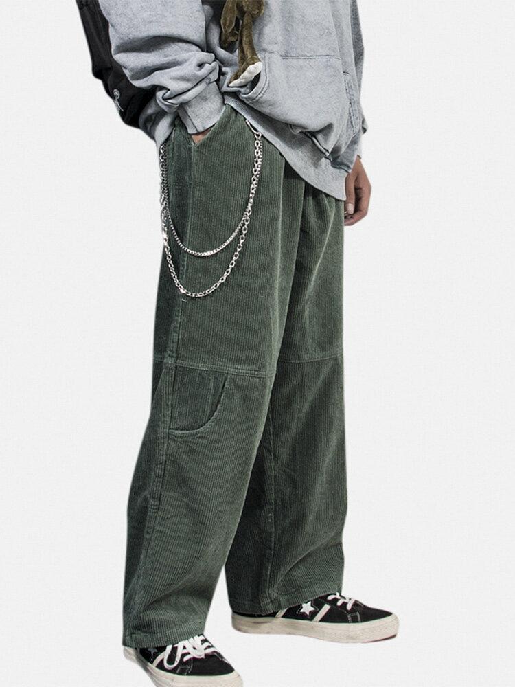 Вельветовый мужской шнурок с несколькими карманами, однотонный, свободный Брюки