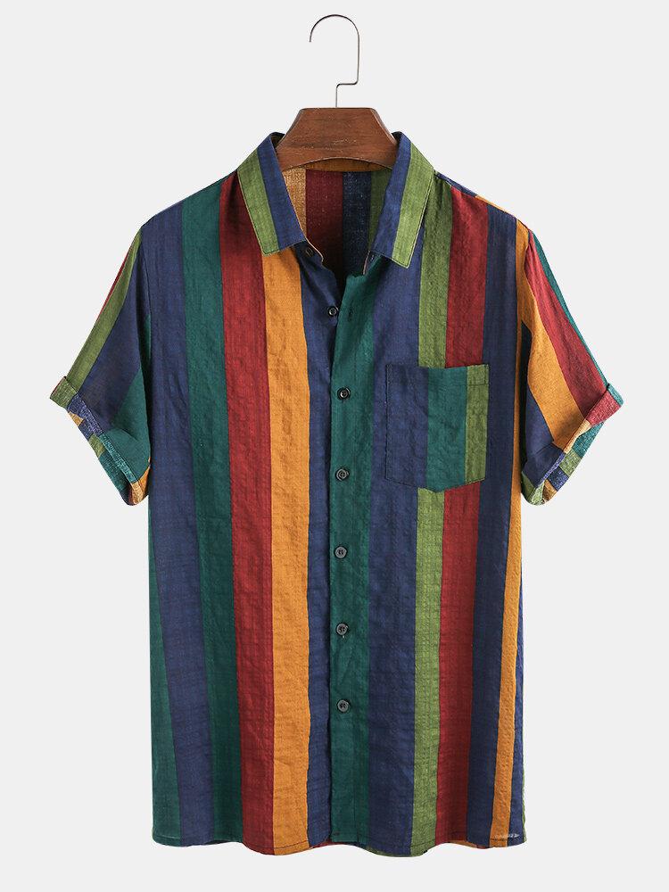 Мужские тонкие дышащие хлопковые рубашки с короткими рукавами в полоску Colorful