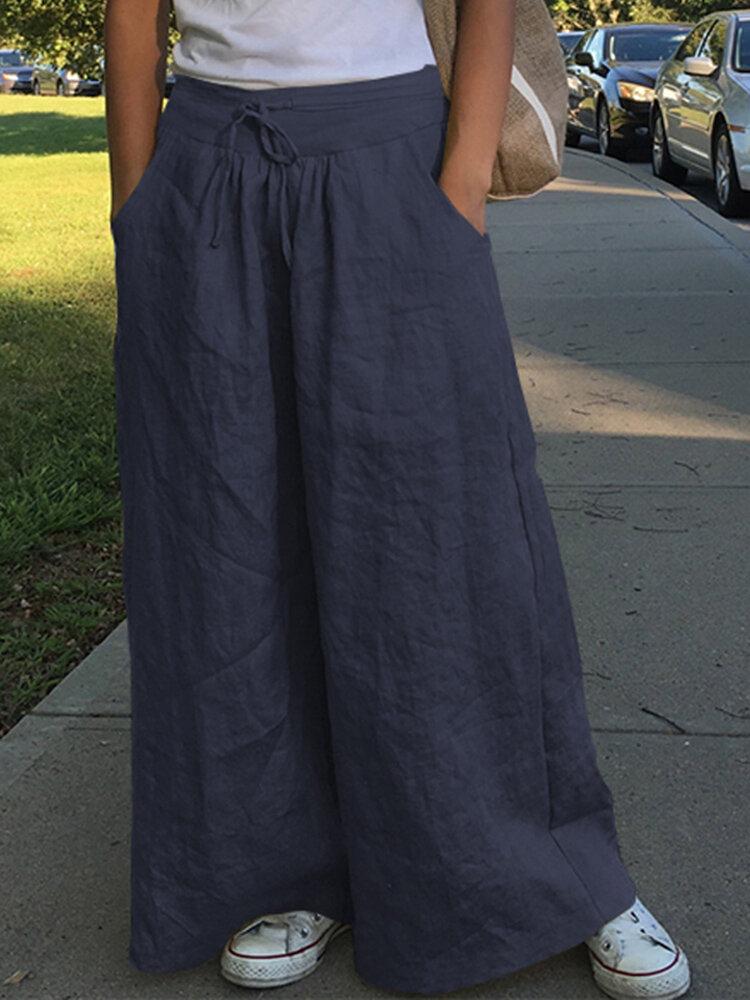 Широкие штанины Женское Повседневные однотонные свободные боковые карманы с высокой эластичной талией Брюки