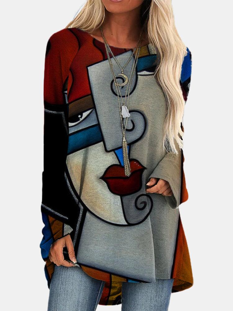 Женщины Винтаж Блузка с длинными рукавами и круглым вырезом с абстрактным рисунком и неправильным подолом