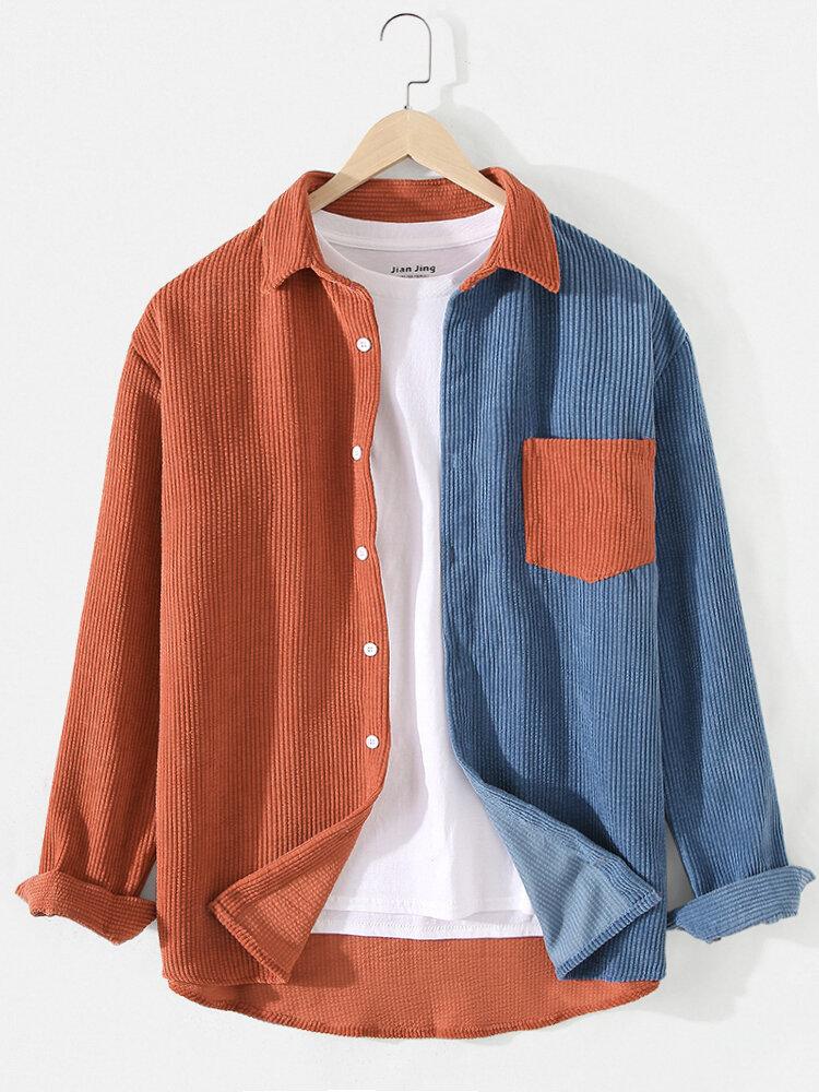 Мужские вельветовые рубашки с длинным рукавом в стиле пэчворк с карманом