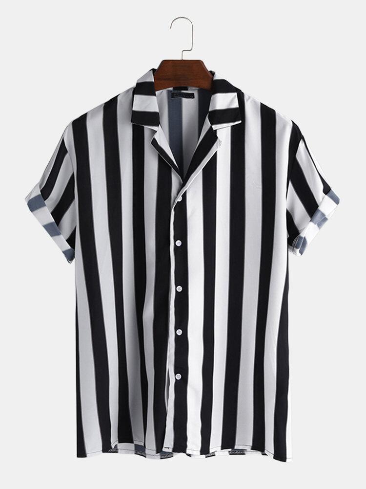Мужская новая мода модные черные полосатые рубашки с короткими рукавами