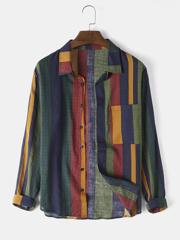 Мужская 100% хлопок Colorful дышащая рубашка с длинным рукавом