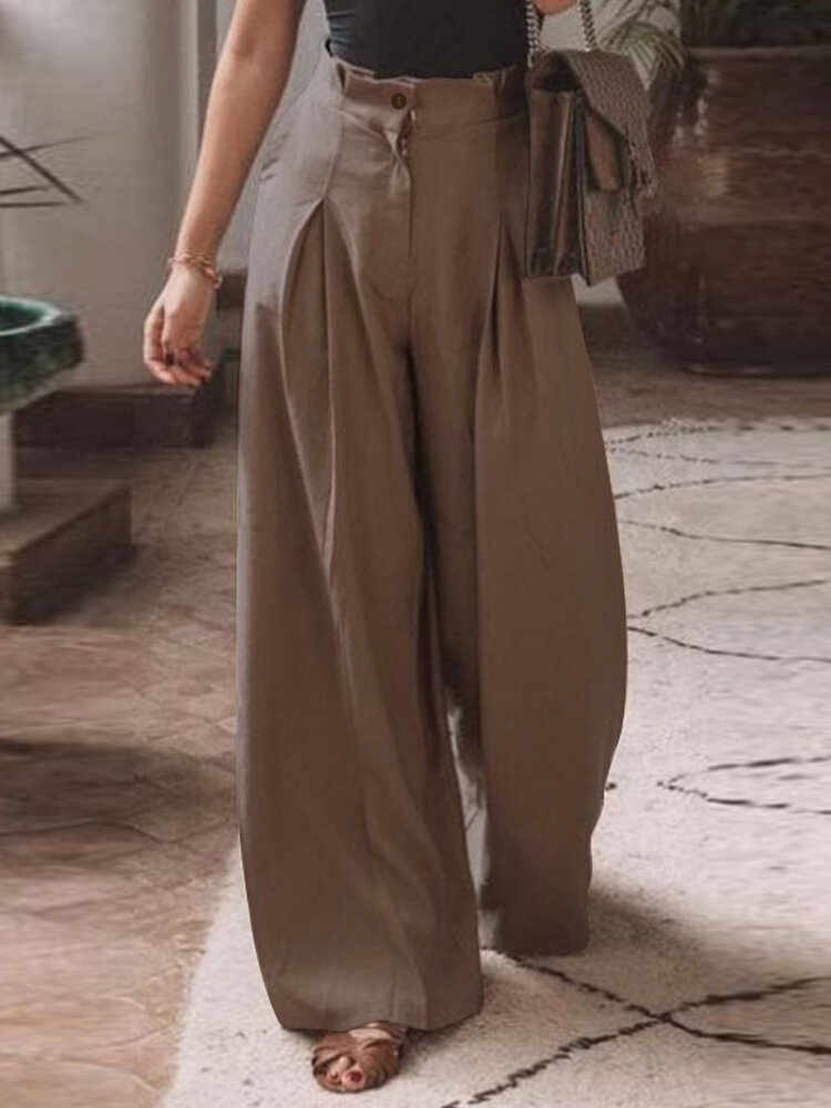Женские хлопковые складки с эластичной талией, свободные, повседневные, с широкими штанинами, Брюки, с боковыми карманам