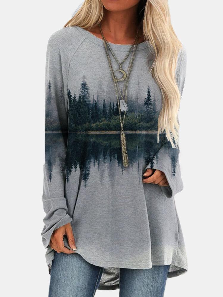 Асимметричная блузка с длинным рукавом и круглым вырезом с ландшафтным принтом для Женское
