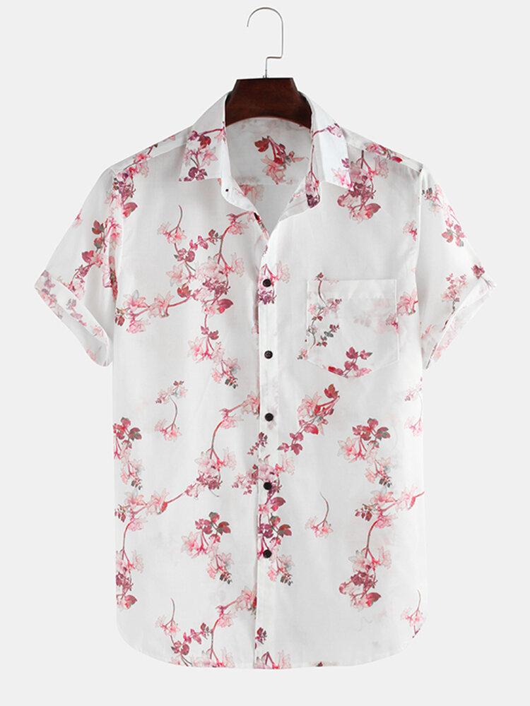 Мужские вишневые рубашки с цветочным принтом и повседневными рубашками для отдыха