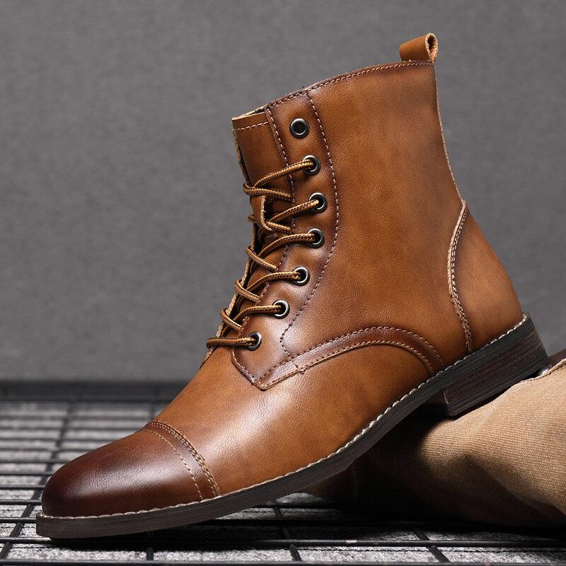 Мужская ретро ручной работы в британском стиле Cap Toe Leather Formal Платье Ботинки