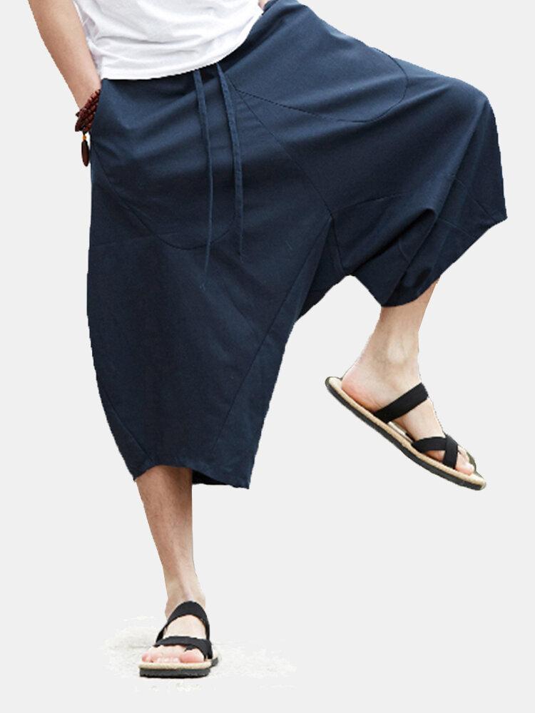 Мужская повседневная одежда Spold Color 100% хлопок Drawstring Свободная посадка теленка Длина Брюки