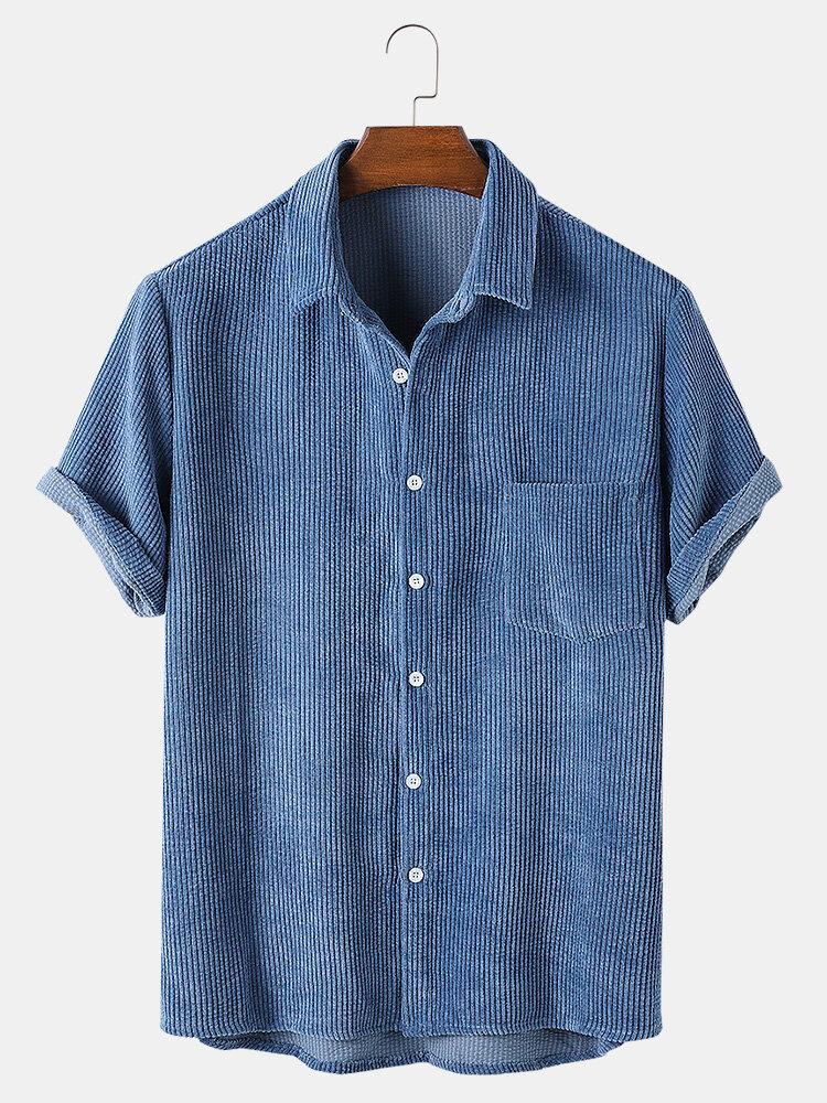 Мужские повседневные вельветовые легкие дышащие рубашки с короткими рукавами и карманами