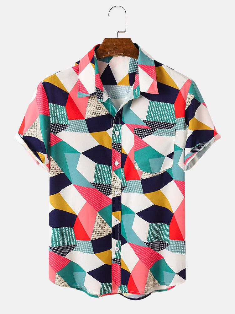 Мужские рубашки с короткими рукавами и контрастными карманами с цветными блоками