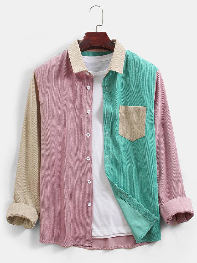 Мужские вельветовые повседневные рубашки с длинным рукавом в стиле пэчворк с карманом