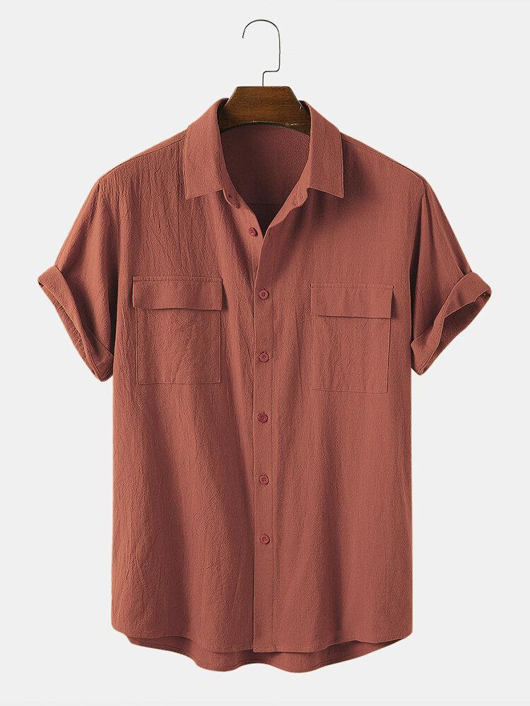 Мужская повседневная рубашка из 100% хлопка сплошного цвета