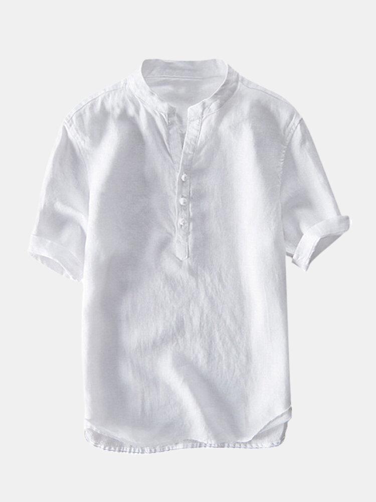 Мужская Винтаж китайский стиль хлопок сплошной цвет стоять воротник случайные летние футболки