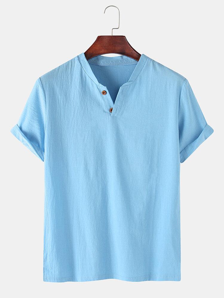 Мужская повседневная рубашка из 100% хлопка с короткими рукавами