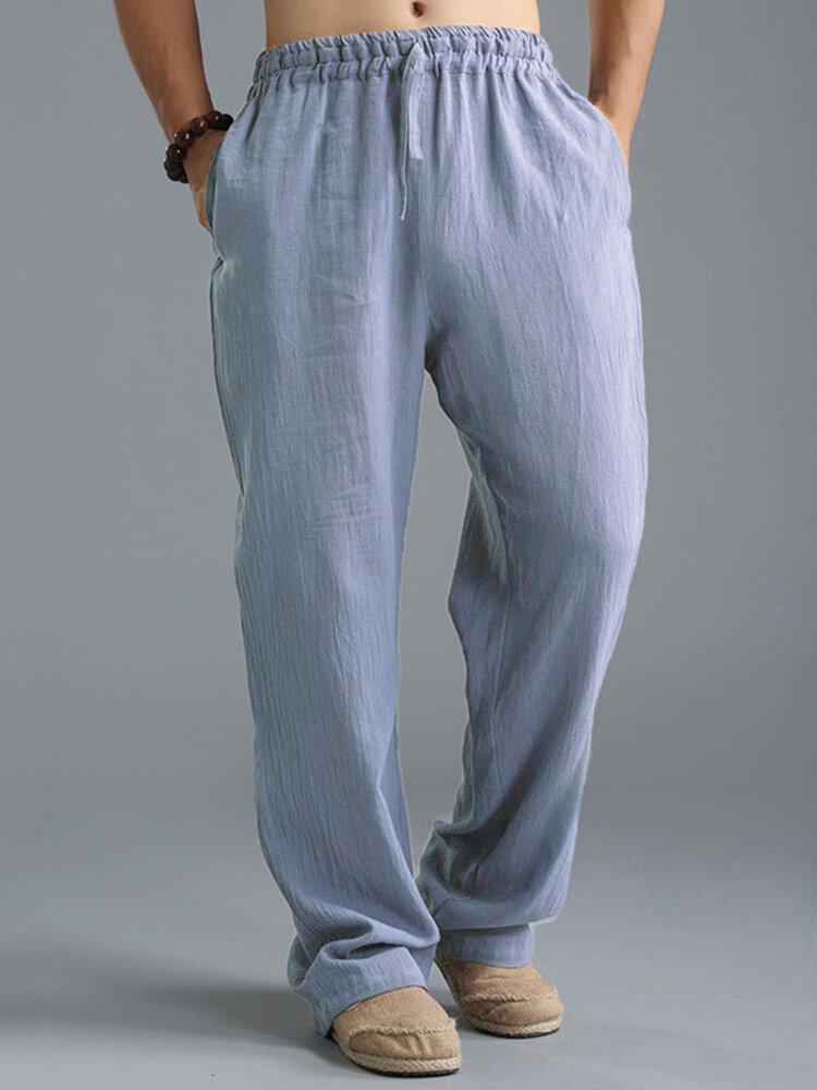 Мужские винтажные повседневные мешковатые однотонные свободные брюки на шнурке в китайском стиле
