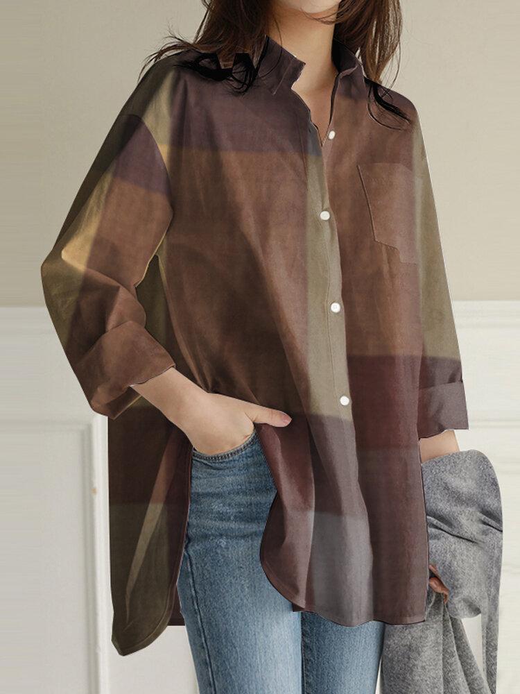 Женские свободные повседневные рубашки с лацканами и длинными рукавами в клетку с нерегулярными краями