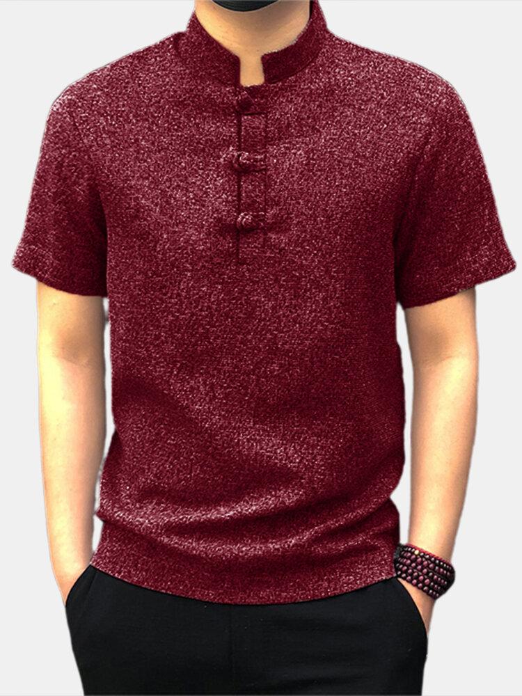 Мужские повседневные рубашки с короткими рукавами и воротником-стойкой в китайском стиле, футболки на пуговицах, кунг-фу