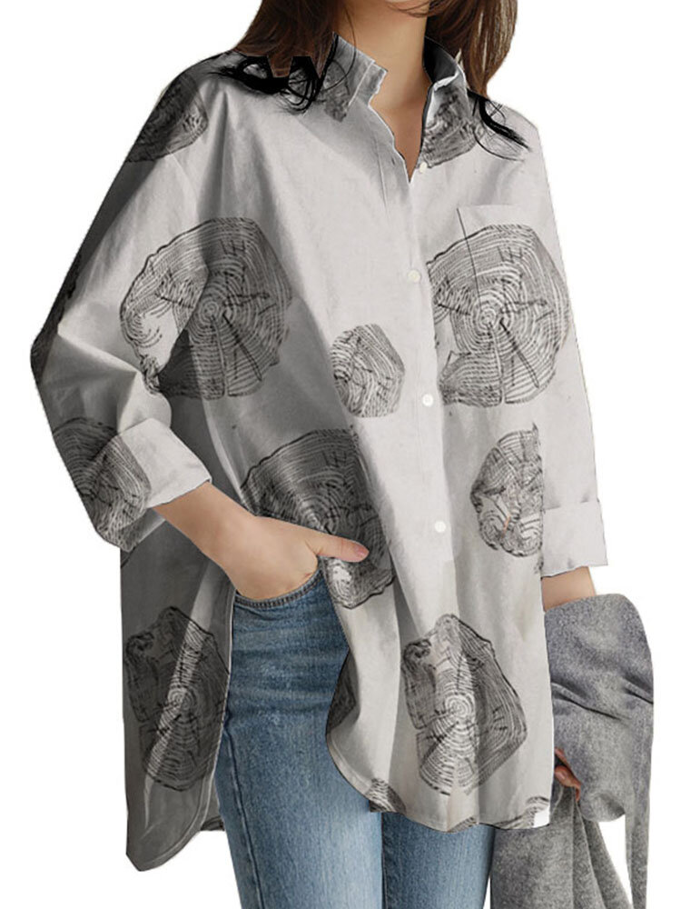100% хлопок Женское Рубашки с длинными рукавами и нагрудным карманом с цветочным принтом и лацканами