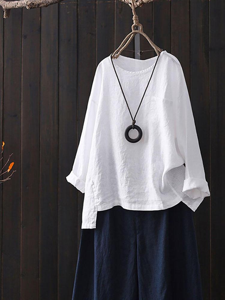 Cotton Crew Шея Асимметричные рубашки с разрезом для Женское