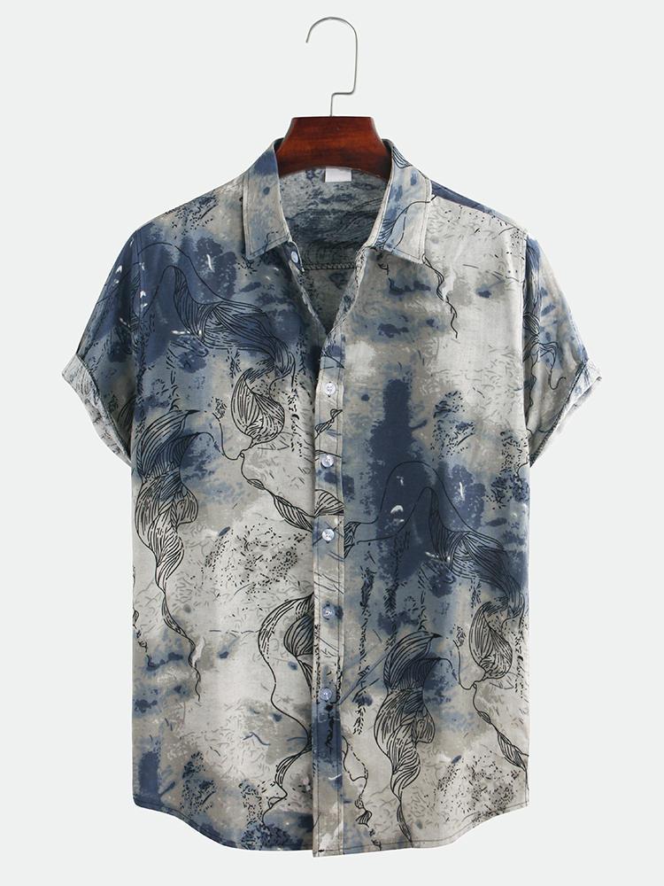 Мужские повседневные рубашки с коротким рукавом и отложным воротником с абстрактным принтом