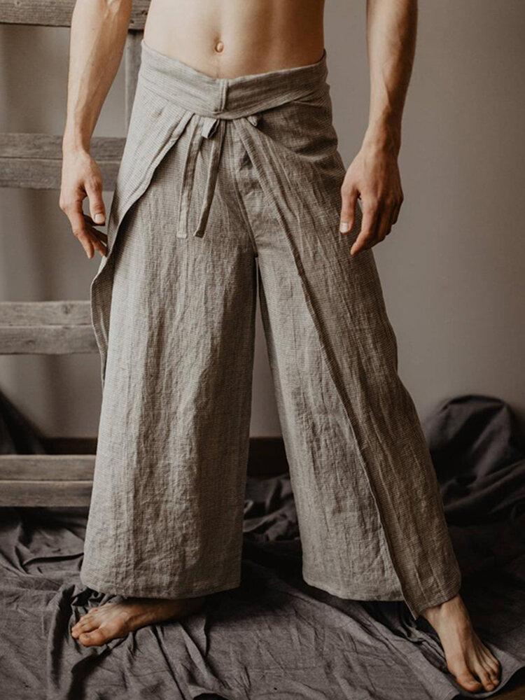 Мужские повседневные свободные многофункциональные брюки с ремешком Fisherman Брюки